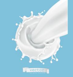 milk splash 3d icon vector image vector image