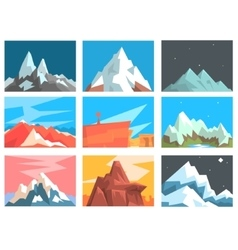 Mountain peaks and summits landscape vector