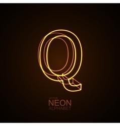 Neon 3d letter q vector