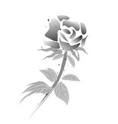 rose flower -chinese painting-black white version vector image vector image