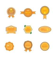 Set of labels for honey products vector