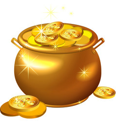 St patrick day gold pot with coins vector
