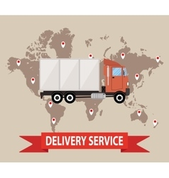 truck on brown background with world map vector image vector image