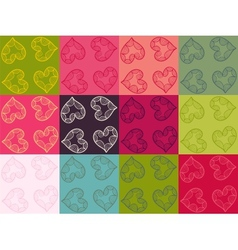 Valentine seamless pattern set vector image vector image