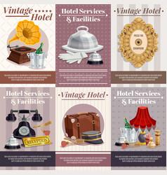 vintage hotel poster set vector image vector image
