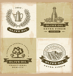 Vintage olive oil labels set vector