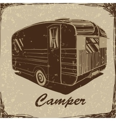 Vintage Poster with Trailer Vehicles Camper Vans vector image vector image
