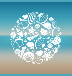 white seashell silhouette round concept vector image vector image