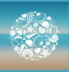 white seashell silhouette round concept vector image