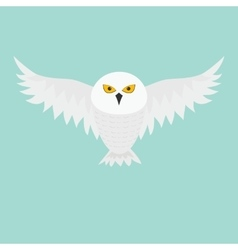 White snowy owl flying bird with big wings vector