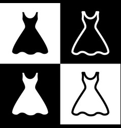 Woman dress sign black and white icons vector