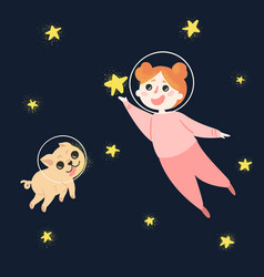 Young girl and her dog in space wearing helmets vector