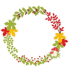 Autumn forest wreath vector
