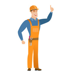 Caucasian builder pointing with his forefinger vector