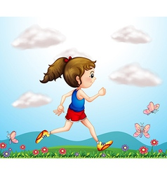 A girl running with butterflies vector image