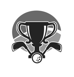 Golf club or tournament award cup icon vector