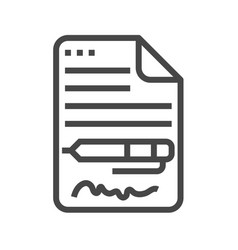 Contract thin line icon vector
