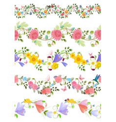Fashion floral set of seamless borders with roses vector