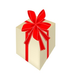 A beautiful gift box with red ribbon vector