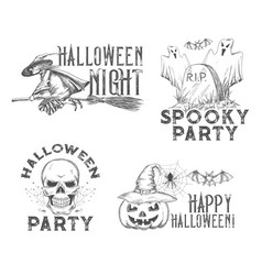 Halloween sketch icons for holiday night vector
