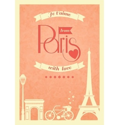 Love paris vintage retro poster vector