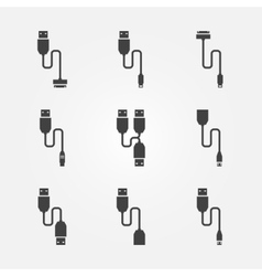 USB cables icons vector image