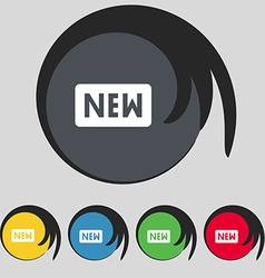 New icon sign symbol on five colored buttons vector
