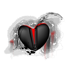 Black and red heart vector