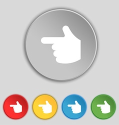 Pointing hand icon sign symbol on five flat vector
