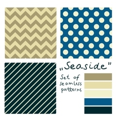 Set of simple seamless geometric patterns seaside vector