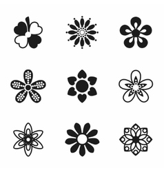 Flowers icon set vector