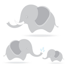 Cute elephant family cartoon drawing thailand vector