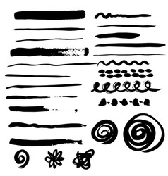 Different grunge brush strokes vector