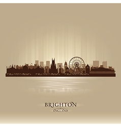 Brighton england skyline city silhouette vector