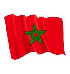 Political waving flag of morocco vector