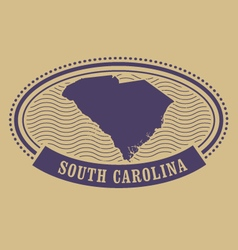 South carolina map silhouette - oval stamp vector