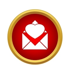 Envelope with heart icon simple style vector