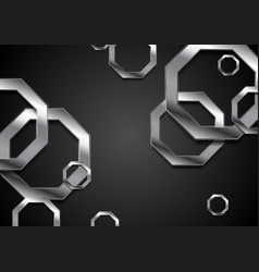 Abstract tech background with metallic octagons vector