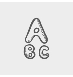 Alphabet with bold font sketch icon vector