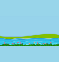 Background scene with field and river vector