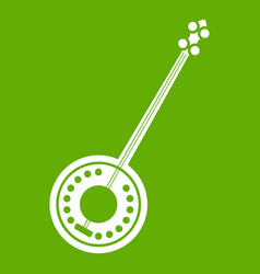 Banjo icon green vector