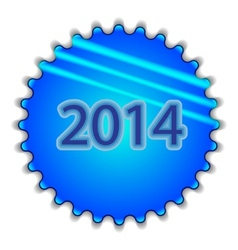Big blue button labeled 2014 vector image