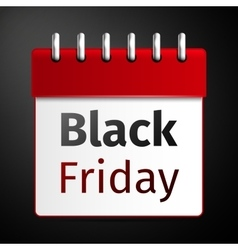 Black friday sale calendar on black background vector image vector image