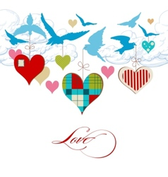 Blue birds and hearts in the sky vector