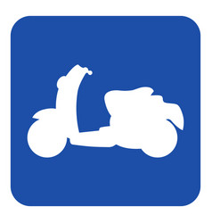 Blue white information sign - scooter icon vector