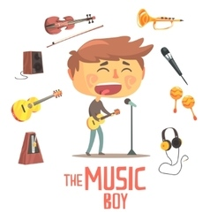 Boy singer and musician kids future dream vector
