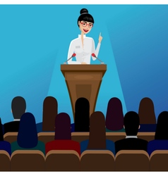 Business woman public speaker on conference vector
