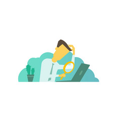 businessman with magnifier in hand looking for vector image vector image