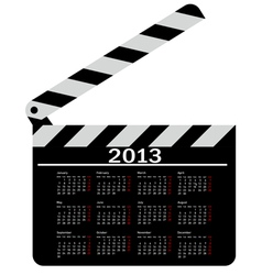 calendar for 2013 movie clapper board vector image