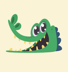 cartoon crocodile smiling head vector image
